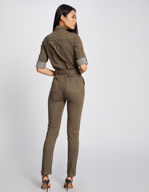 Fitted belted jumpsuit khaki ladies'