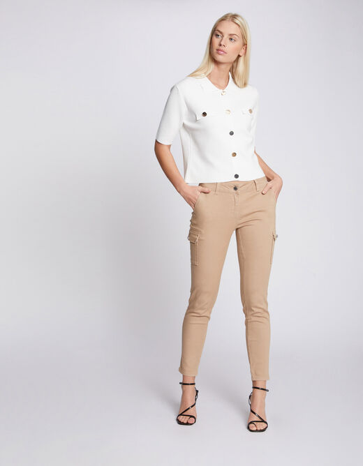 Standard waisted straight trousers sand ladies'